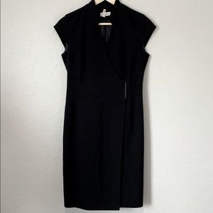 Calvin Klein Minimalist Wrap Dress, Black, Size 4
